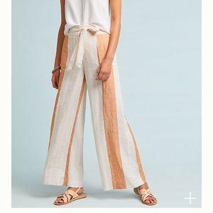 RARE Anthropologie wide leg linen pants sz 6